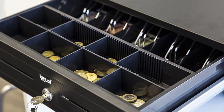 cajón para guardar monedas para tiendas y comercios